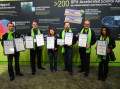 Accepting the award on behalf of NVIDIA from left to right- Micah Guimarin, Cliff Woolley, Liza Gabrielson,  Jeff Larkin, Robert Sherbin, and Geetika Gupta