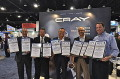 From left to right - Cray VP of WW Sales John Josephakis and TCI President and Gp Publisher Jeff Hyman join CEO Tom Tabor as they present Cray CEO Peter Ungaro with Cray's awards, supported by Media Relations Mgr Nick Davis
