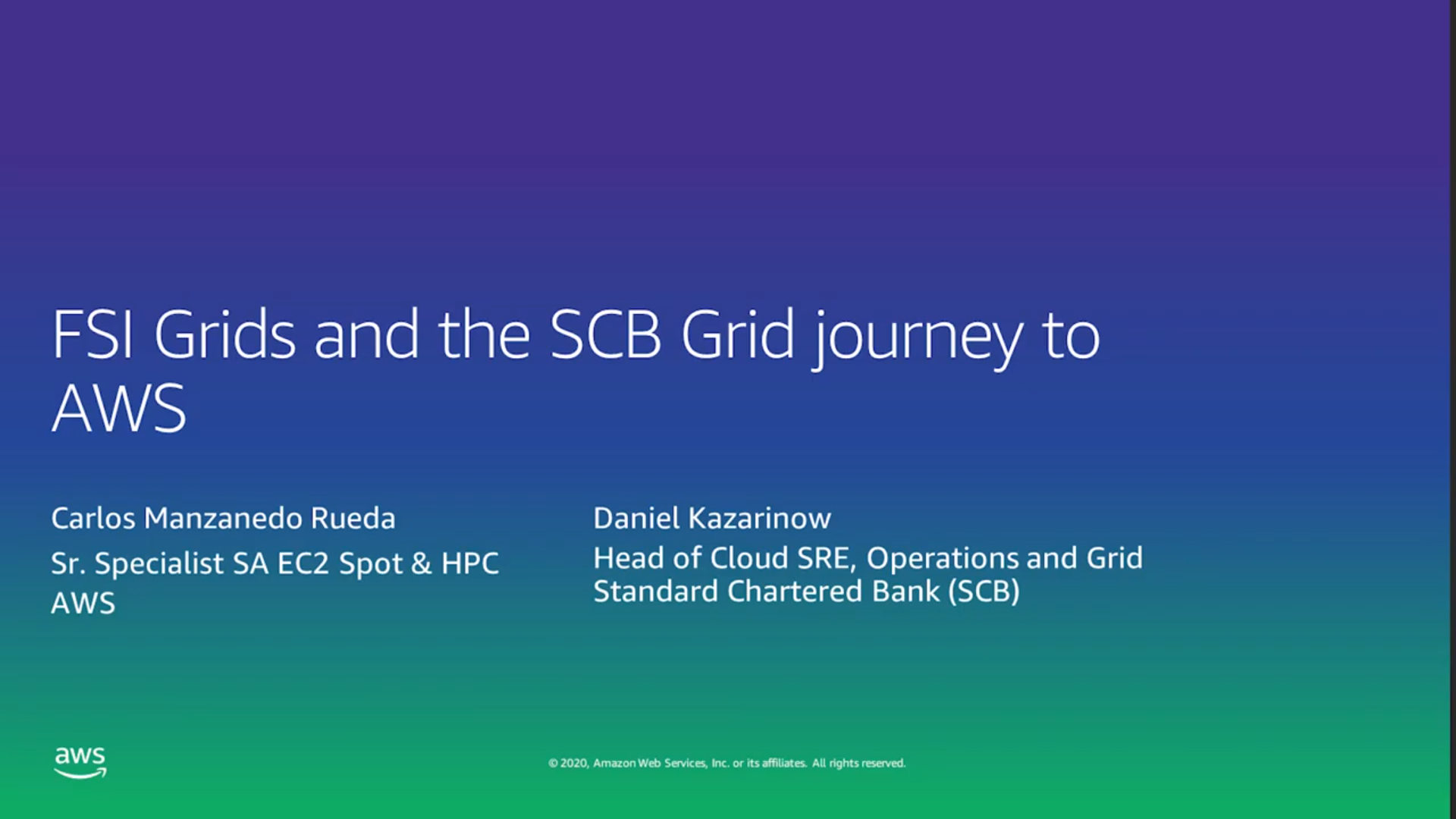 FSI Grids and Standard Chartered Bank's Journey to AWS